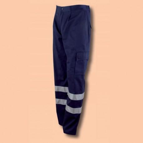 Pantalón Modelo Montador con bandas de Alta Visibilidad Azulina