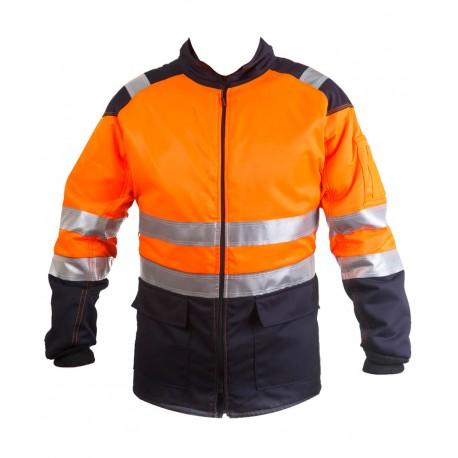 Cazadora de motosierra naranja / azul AV Clase 2