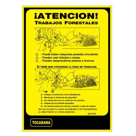 Cartel Aviso Trabajo Forestal