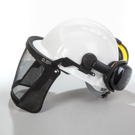 kit casco blanco con protector auditivo y visor de malla