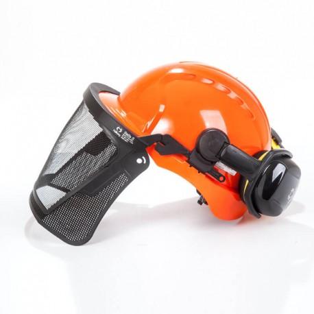 kit casco con protector auditivo y visor de malla